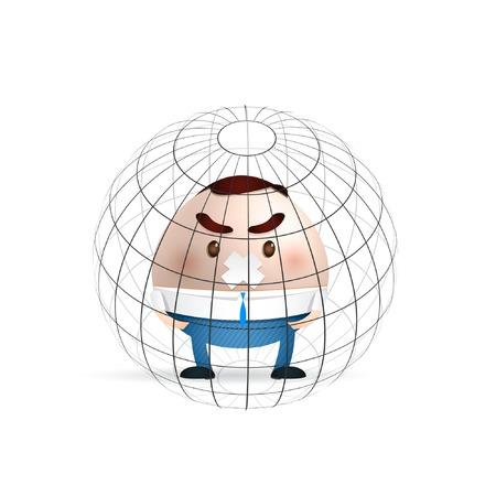 cartoon man in the world Vector