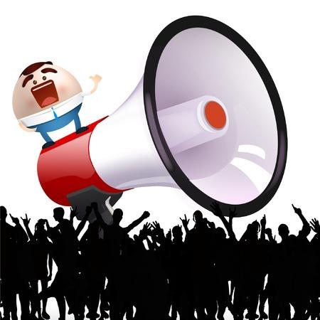 cartoon man with megaphone  Vector