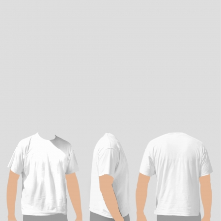 t shirts: empty white t shirts on gray background