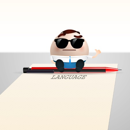 cocnept: businessman cartoon on sheet of paper. language cocnept