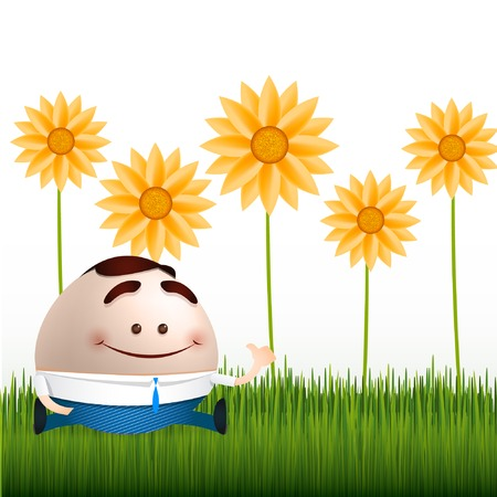 businessman cartoon on flowers and grass background Stock Vector - 24146929