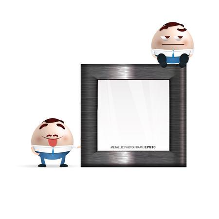 businessman cartoon on a photo frame Vector