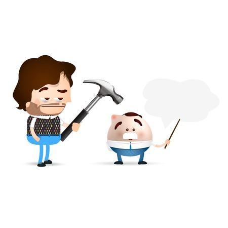 beating: businessman cartoon beating a scientific Illustration
