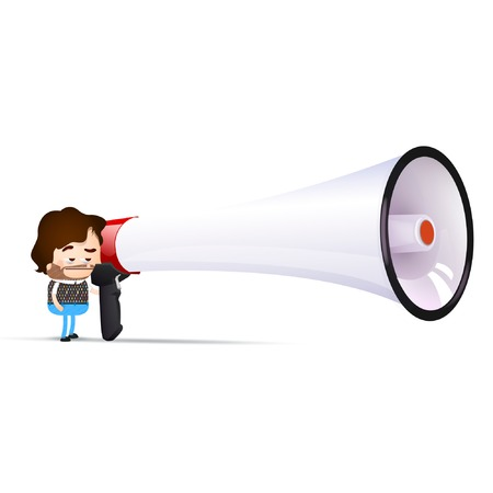 hipster cartoon with a megaphone Stock Vector - 24146934