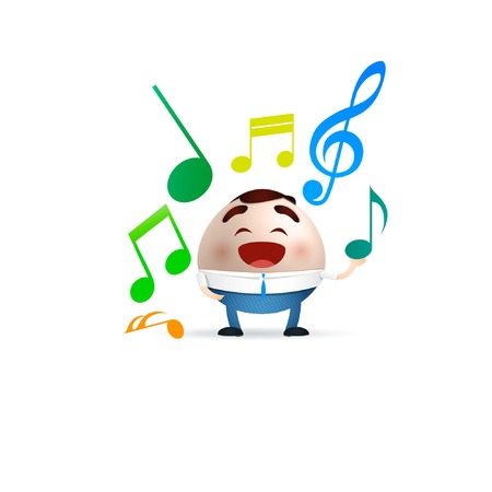 businessman cartoon with musical notes Vector
