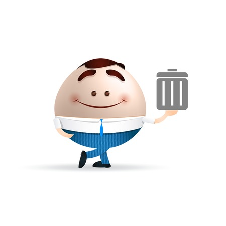 businessman cartoon dustbin concept Vector