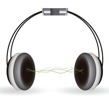 isolated headphones with wave sounds Illustration