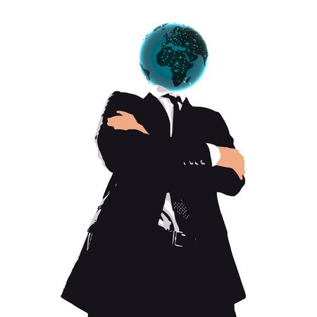 businessman cartoon with planet head Vector