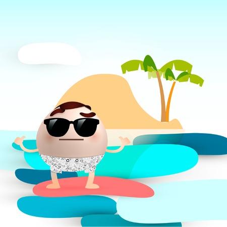 man in the beach Vector