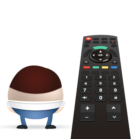 businessman cartoon and remote control Vector