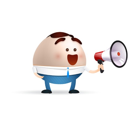 businessman cartoon with a megaphone Vector