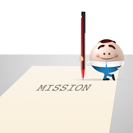 businessman cartoon on sheet of paper. mission concept Vector