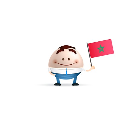 businessman cartoon holding Morocco flag Vector