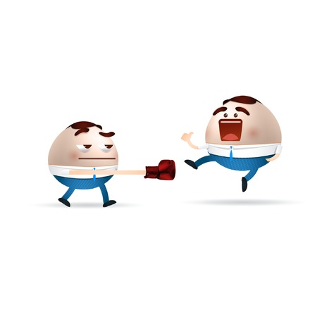 businessman cartoon fighting Vector