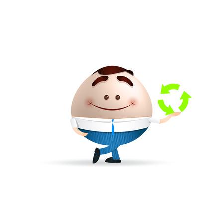 environmental suit: businessman cartoon. recycling concept