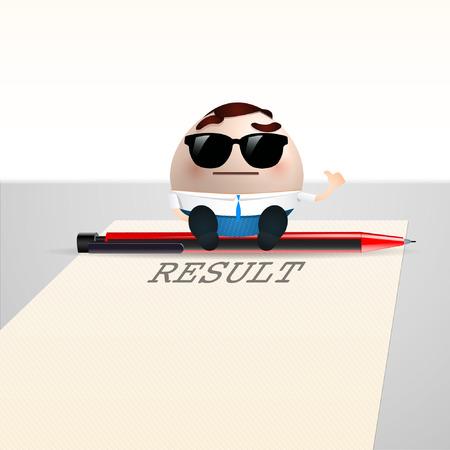 businessman cartoon on sheet paper. result concept