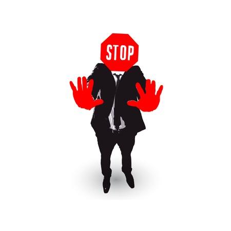businessman cartoon. stop gesture Vector