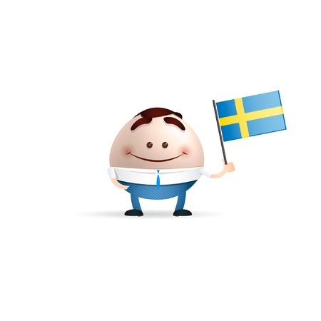 businessman cartoon Sweden flag Vector
