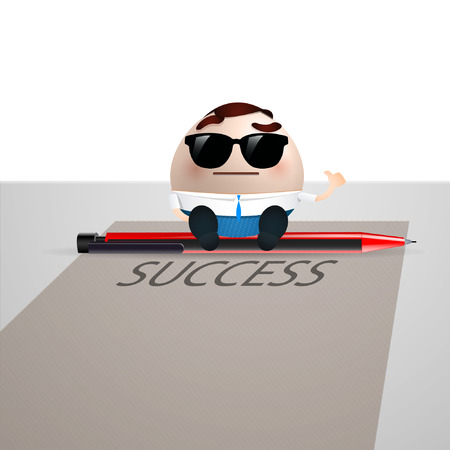businessman cartoon on paper sheet. success concept Vector