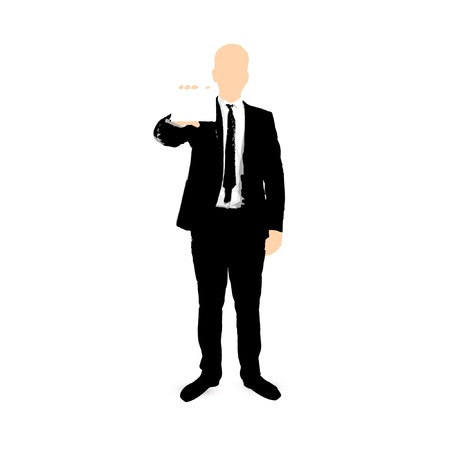 businessman cartoon with empty card Stock Vector - 24147244