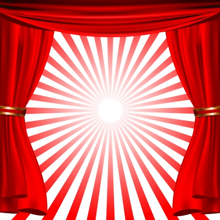 red show curtain with sunrise stripes Vector