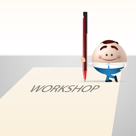 businessman cartoon on paper sheet  workshop concept
