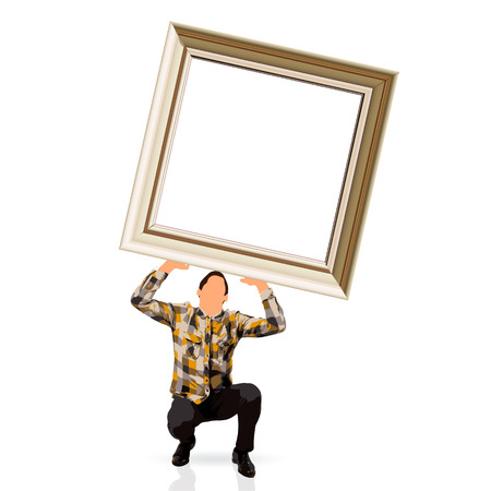 young man holding a picture frame photo