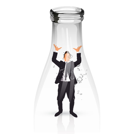 young businessman trapped into a glass water bottle photo