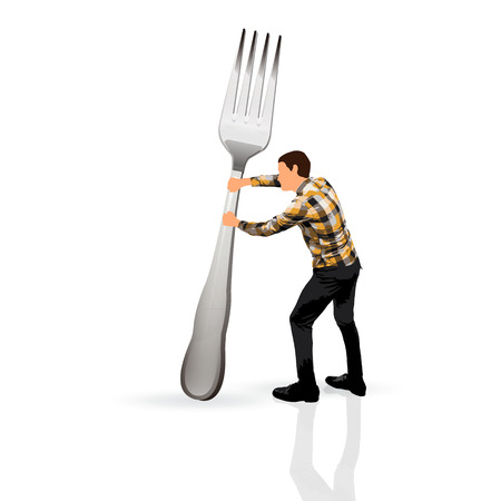 young man holding a fork photo