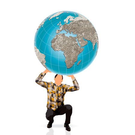 young man holding a world ball photo