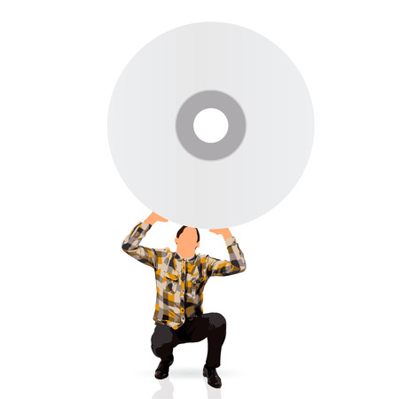 young man holding an empty cd photo