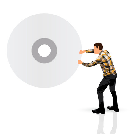 young man carrying a cd photo