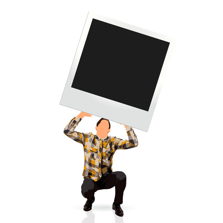 young man holding an empty instant photo frame photo
