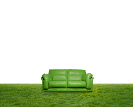 green leather sofa on the grass photo