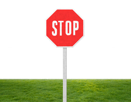 stop signal on green grass photo
