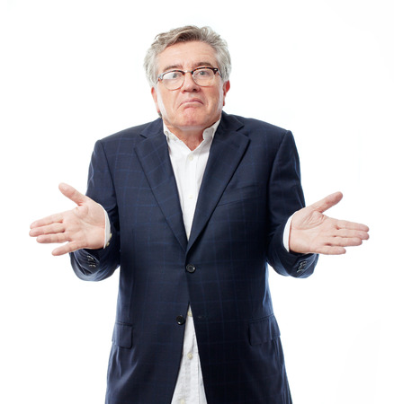 senior cool man confused pose Stock Photo