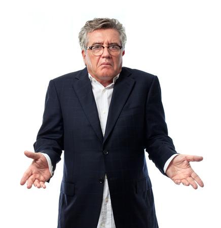 confused person: hombre mayor fresco signo confuso