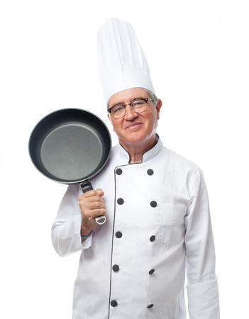 senior cool man with a pan Stock Photo