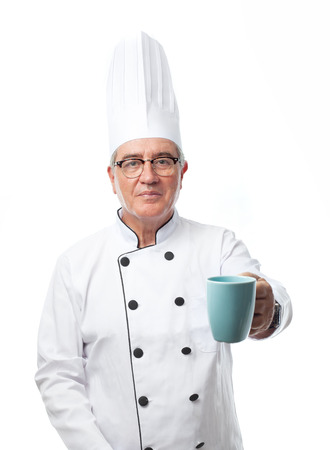 senior cool man offering a cup