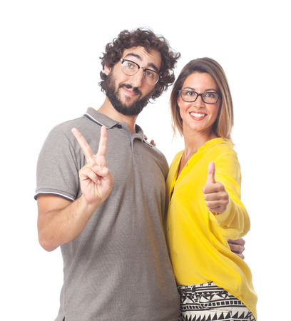 all right: young cool couple all right sign Stock Photo