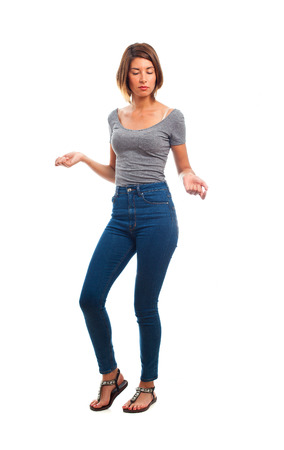 posing  agree: young cool woman dancing Stock Photo