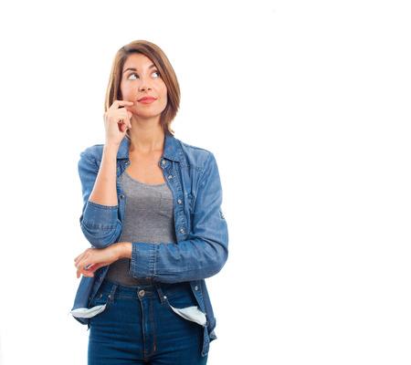mujer pensando: joven mujer de pensamiento fresco Foto de archivo