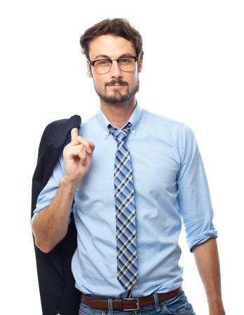 young crazy businessman proud pose photo