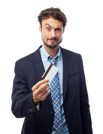 young crazy businessman with a credit card Stock Photo