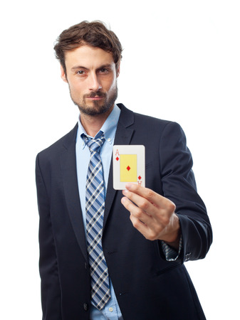 ace: young crazy businessman with an ace Stock Photo