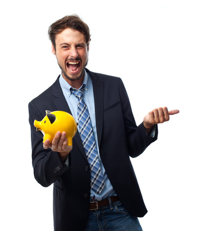 young crazy businessman with a piggy bank Stock Photo