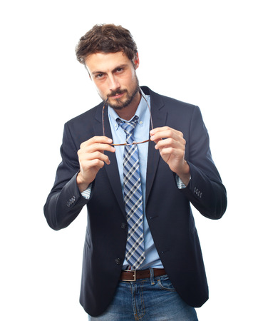 young crazy businessman thinking Stock Photo