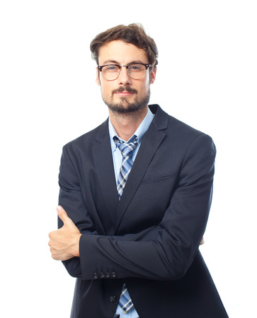 young crazy businessman arms crossed photo