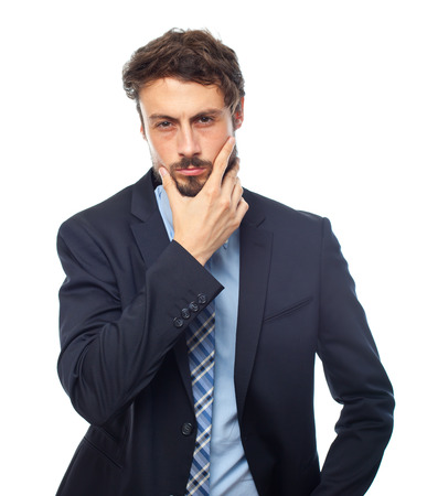 questionable: young crazy businessman worried concept