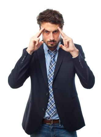 young crazy businessman concentration pose